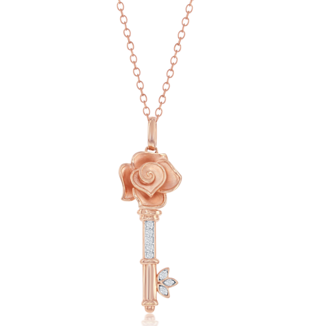 Belle Rose Key Pendant in 14k Rose Gold image 2