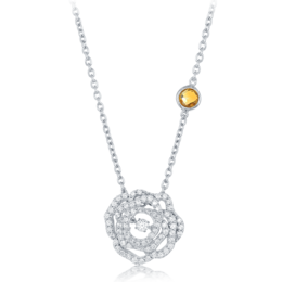 Belle Rose Diamond Pendant in 14k White Gold image 2