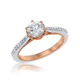 Belle Long Stem Rose Engagement Ring in 14k White and Rose Gold image 2
