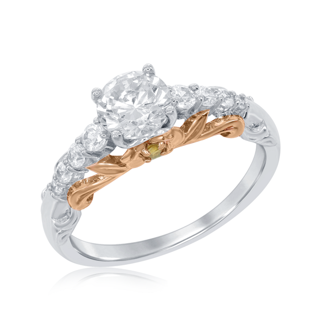 Belle Rose Engagement Ring In 14k White And Rose Gold Rgo5877 W4cwctdsin