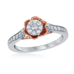 Bell Rose Promise Ring in 14k White and Rose Gold image 2