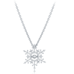 Elsa Frozen Snowflake Diamond Heartbeat Pendant in 14k White Gold image 2