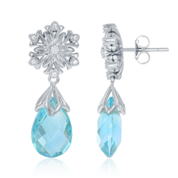 Elsa Frozen Snowflake Aquamarine Briolette Earrings in 14k white gold image 2
