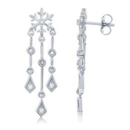 Elsa Frozen Snowflake Chandelier Diamond Earrings in 14k White Gold image 2
