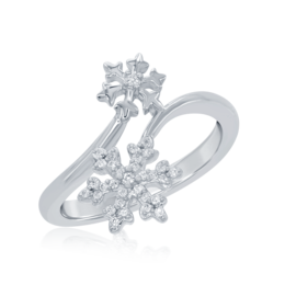 Elsa Frozen Snowflake Bypass Ring in Sterling Silver image 2