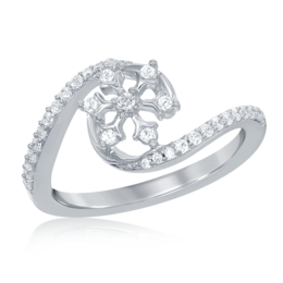 Elsa frozen Snowflake Diamond Swirl Ring in 14k White Gold image 2