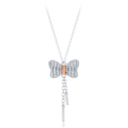 Snow White Bow Diamond Lariat Pendant in 14k white and Rose Gold image 2