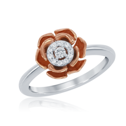 Belle Rose Ring in 14k White and Rose Gold image 2