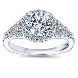 Elegant Diamond Halo Engagement Ring By Polenza