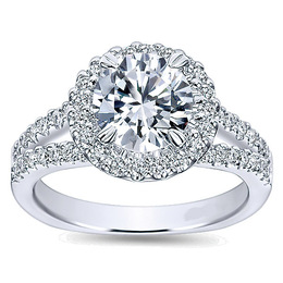 Flawless Diamond Halo Polenza Engagement Ring