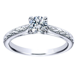 14K White Gold Diamond Engagement Ring By Polenza