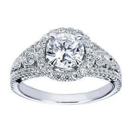 14K Diamond Halo Engagement Ring By Polenza