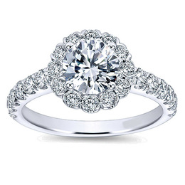Dazzling Diamond Halo Engagement Ring By Polenza