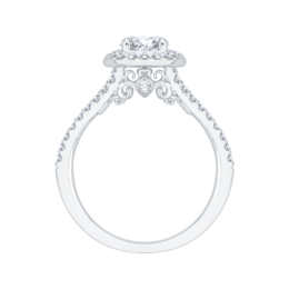 14K White Gold Sparkling Diamond Engagement Ring with Oval Center image 3