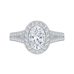 14K White Gold Sparkling Diamond Engagement Ring with Oval Center image 2
