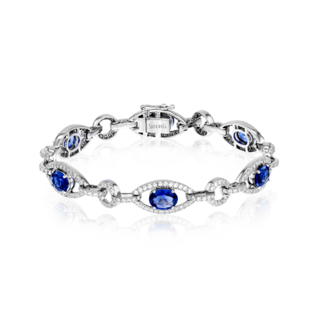 Simon G 18K White Gold Bracelet With Diamonds & Sapphires image 2