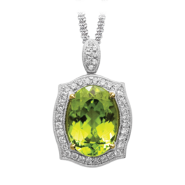 Simon G 18K White Gold Pendant With Peridot Stone image 2