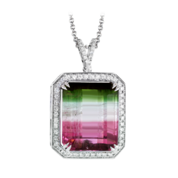 Simon G 18K White Gold Watermelon Tourmaline Pendant image 2