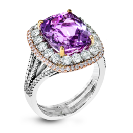 Simon G 18K White & Rose Gold Kunzite Center Stone Fashion Ring image 2