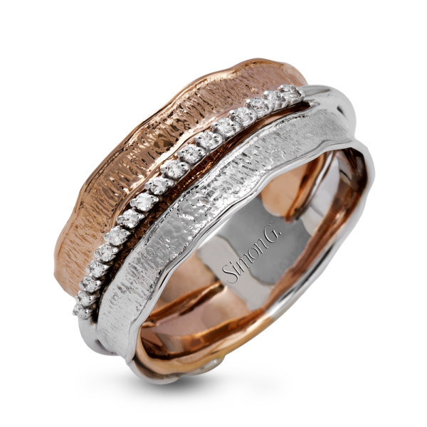 Simon G 18K White & Rose Gold Unique Right-Hand Ring image 2