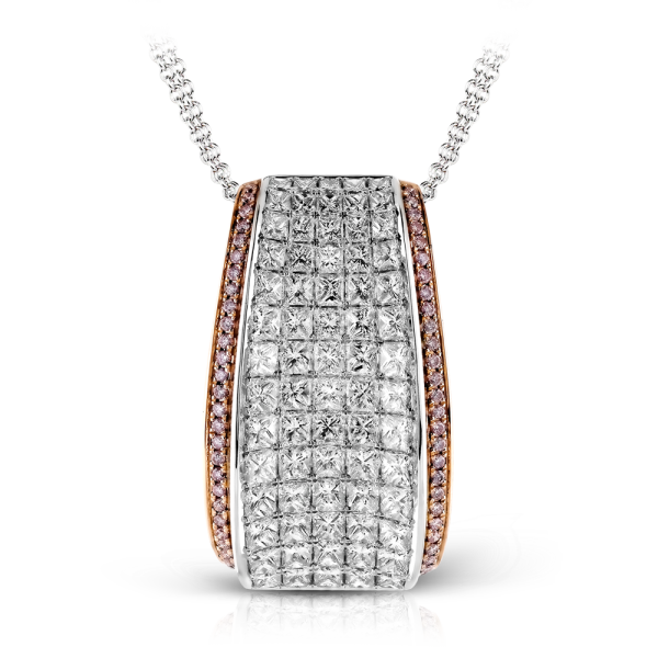 Simon G 18K White & Rose Gold Pendant With Princess Cut Diamonds image 2