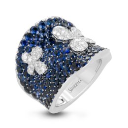 Simon G 18K White Gold Diamond & Sapphire Fashion Ring image 2
