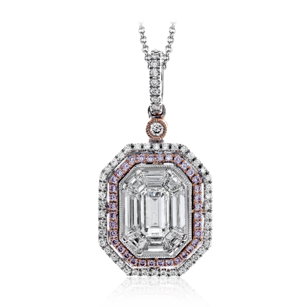 Simon G 18K Two-tone Gold White & Pink Diamond Pendant image 2