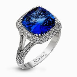 Simon G 18K White Gold Blue Sapphire & Diamond Fashion Ring image 1