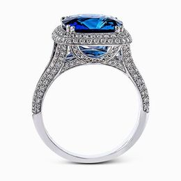 Simon G 18K White Gold Blue Sapphire & Diamond Fashion Ring image 2