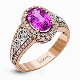 Simon G 18K White & Rose Gold Pink Sapphire Fashion Ring image 2