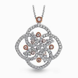 Simon G 18K White Gold Floral Design Pendant With Rose Gold Accent image 2