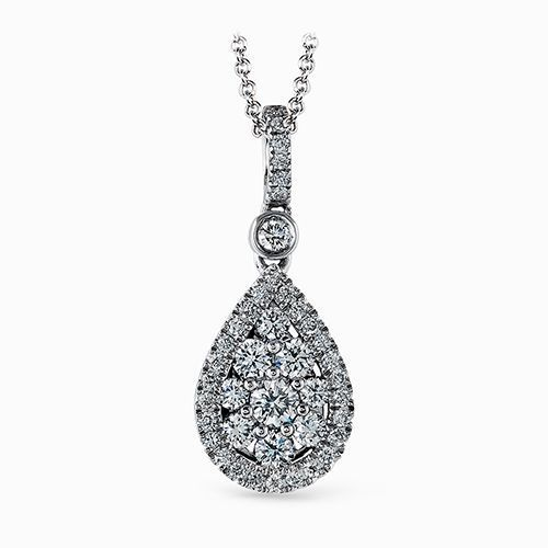 Simon G 18K White Gold Glimmering Teardrop Shaped Pendant image 2