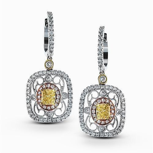 Simon G 18K Yellow, Rose & White Gold Vintage-Inspired Dangle Earrings image 2