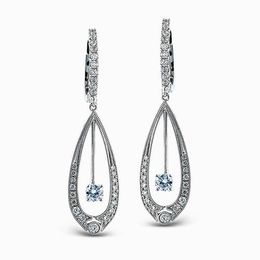 Simon G 18K White Gold Teardrop Dangle Earrings image 2