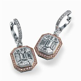Simon G 18K White & Rose Gold Contemporary Earrings image 2