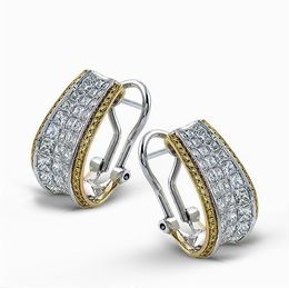Simon G 18K Two-Tone Gold Striking Contemporary Curved Earrings image 2