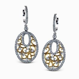 Simon G 18K Two-Tone White & Yellow Gold Lacy Drop Design Earrings image 2