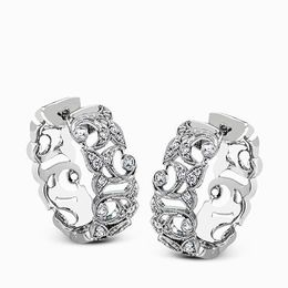 Simon G 18K White Gold Romantic Floral Design Hoop Earrings image 2