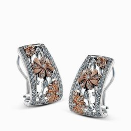 Simon G 18K Two-Tone White & Rose Gold Lovely Floral Design Earrings image 2