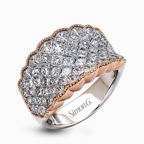 Simon G 18K White & Rose Gold Contemporary Right-Hand Ring image 2