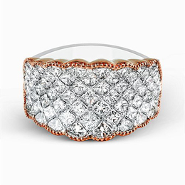 Simon G 18K White & Rose Gold Contemporary Right-Hand Ring image 3