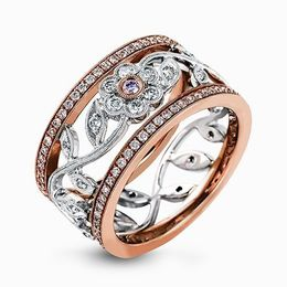Simon G 18K White & Rose Gold Vintage Floral Design Right-Hand Ring image 2