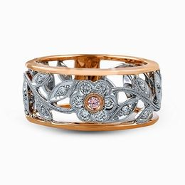 Simon G 18K Rose & White Gold Vintage Floral Design Ring image 2