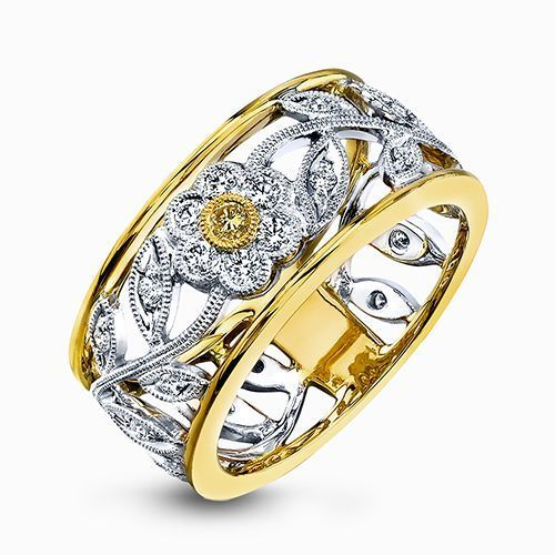Simon G 18K White & Yellow Gold Eye-Catching Vintage Style Ring image 2