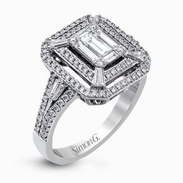 Simon G 18K White Gold Eye-Catching Modern Diamond Engagement Ring image 2