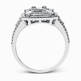 Simon G 18K White Gold Eye-Catching Modern Diamond Engagement Ring image 3