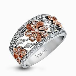 Simon G 18K Rose & White Gold Vintage Garden Floral Design Ring image 2