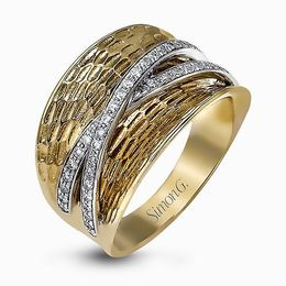 Simon G 18K Two-Tone White & Yellow Gold Classic Hammered Design Ring image 2