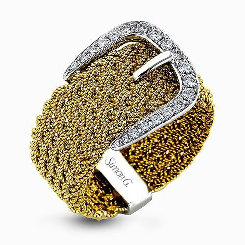 Simon G 18K Two-Tone White & Yellow Gold Braided Belt Buckle Design Ring image 2