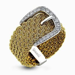 Simon G 18K Two-Tone White & Yellow Gold Braided Belt Buckle Design Ring image 1